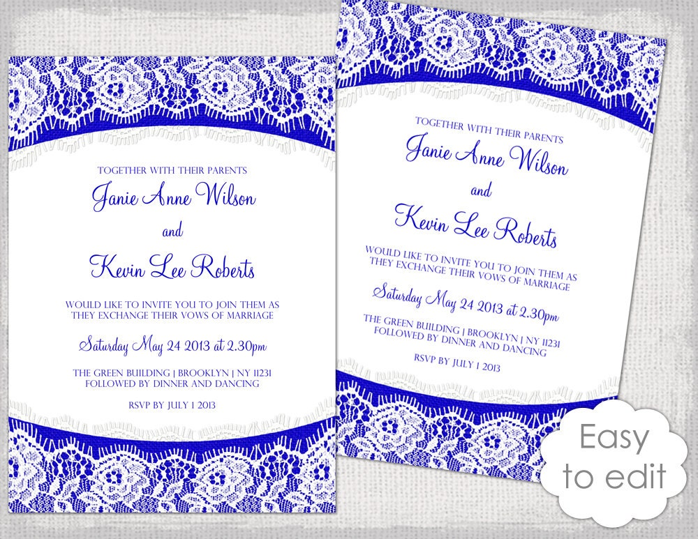 Royal Blue Wedding Invitation Cards: Lace Wedding Invitation Template Royal Blue Linen