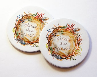 Bless this Nest Coasters, Coasters, Drink Coasters, Set of Coasters, Hostess Gift, Home Decor, Bless this Nest, Housewarming Gift (5188)