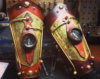 Navigator Steampunk Bracer Featuring a brass compass