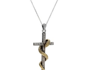 Serpent Cross Pendant Necklace