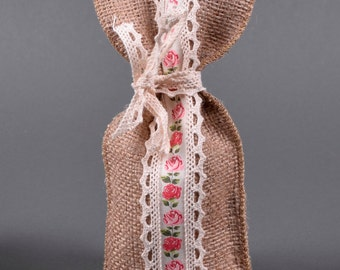 Burlap&Floral Ribbon Bag 12x15cm
