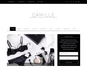 Camille - Feminine WordPress Theme - Genesis Child Theme - SEO - Responsive - Static Front Page - Slider - Ecommerce - Portfolio - Blog