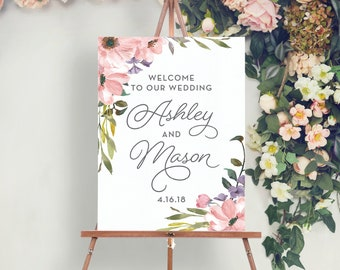 Welcome Wedding Sign - Wedding Welcome Sign - Bridal Shower Welcome Sign - Printed - Bridal Shower Sign - Tea Rose Welcome