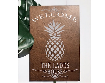 Welcome sign | custom welcome sign | last name | family name sign | pineapple sign | welcome sign for front door | house warming gift