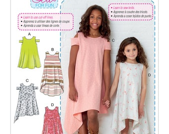 Sewing Pattern Children's/Girls' Dresses - Stretch Knit Dress, McCall's Pattern 7737, New Pattern, Learn to Sew Very Easy