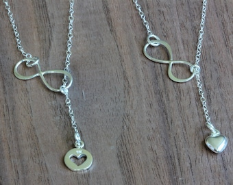 Mother and Daughter Necklace , Mother daughter jewelry , Mother daughter necklace , Infinity heart necklace , Infinity Lariat Necklace,heart