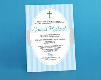 First Communion Invitation INSTANT DOWNLOAD  - Boys Communion Invitation by Printable Studio