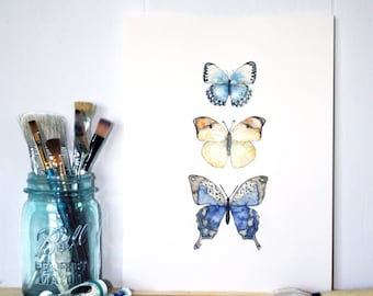 "Original Watercolor Butterfly Painting - Painting titled, ""Three Butterflies"", Watercolor Painting, Original Artwork, Butterfly Print"