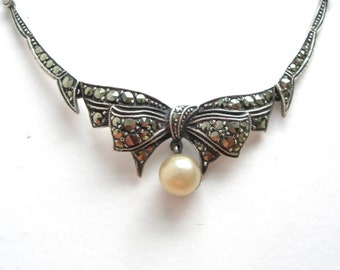 Art Deco, bib necklace,sterling silver, 925, Art Designed, pearl, marquisette ,hand made,vintage