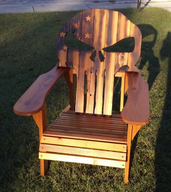 Adirondack chair custom cedar Punisher skull