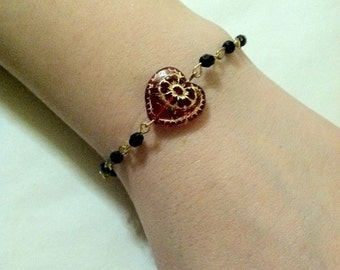 Red Sideways Heart Bracelet