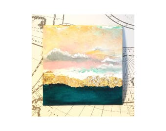 Painting Abstract Acrylic Wall decor from The Sky breathing Collection Clouds on Gold