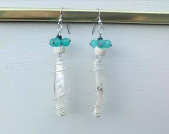Dangle earrings, mothers day, steel blue glass dangle earrings, wedding, ceremony, birthday, mother of Pearl dangle earrings dangle earrings