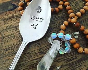 Zen AF hand stamped vintAge spoon