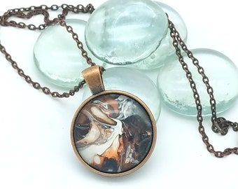 Painted Glass Cabachon Pendant Copper and Brown Pendant Layering Necklace 2018 Trend Earth Tones Wearable Art