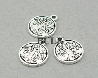 BULK 30 Tree Charms, Tree of Life disc pendant beads, Antique Silver 15mm CM0807S