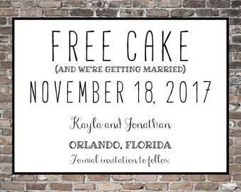 Funny Save the Date ~ Free Drinks Free Cake ~ Simple | Custom | Printable | Wedding | Unique ~ Save Our Dates | Silly Theme