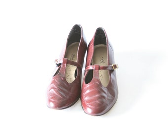 Burgundy Red Mary Janes - Size 75