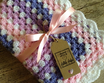 Handmade Girls Crochet Granny Squares Baby Blanket- Pastel colours - Great Baby Shower Gift - Handmade with love...