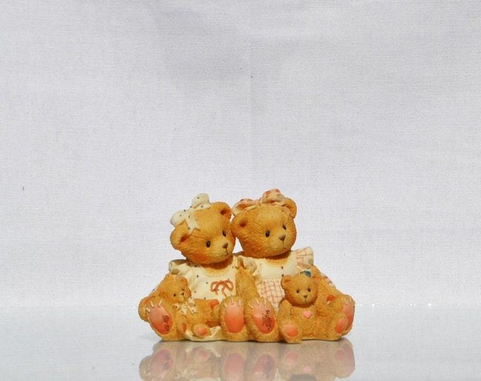 Vintage Cherished Teddies, Allison and Alexandria, 1995, Priscilla Hillman Enesco, Collectible Figurine, Sisters Figurine, Teddy Bear