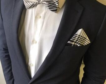 Madras white & Black bowtie