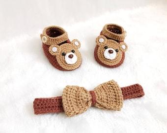 Crochet Baby Cutie Bear shoes and headband set  - Baby headband - Crochet shoes - Baby Shoes - Baby girl set - Baby girl shoes- photo shoot