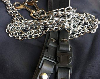 Genuine leather and chain bedpost restraints