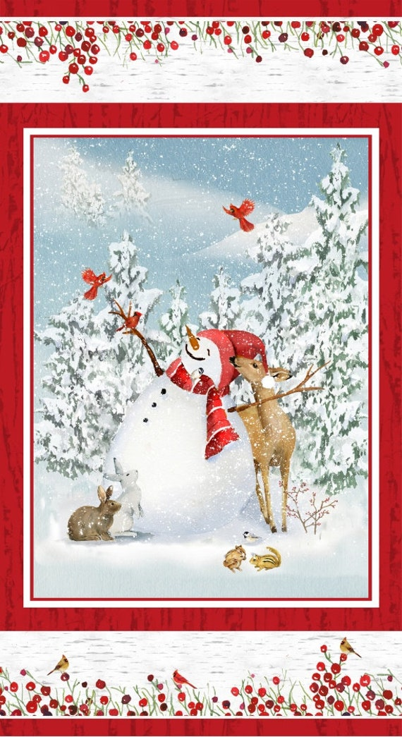 """Quilt Fabric Panel Of The Cutest Snowman In A Winter Wonderland Scene With Deer And Rabbits by Barb Tourtillotte, Panel Is 22"""" by 42"""""""