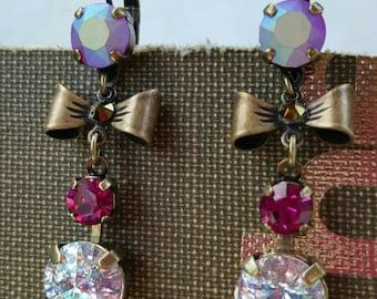 ERICA - Swarovski Crystal White Patina and Fuchsia earrings