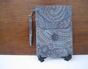 CLEARANCE Kindle Old Keyboard Style Kindle Reader Case, Kindle Reader Cover Blue Paisley Wristlet, Pouch for Kindle Accessories, Kindle Case