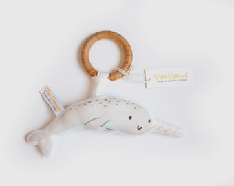 Organic Narwhal Rattle - Narwhal Toy - Baby Rattle / Baby Gift / Natural Wood Rattle / Wood Toy / Baby Toy / Baby Shower Gift / Montessori