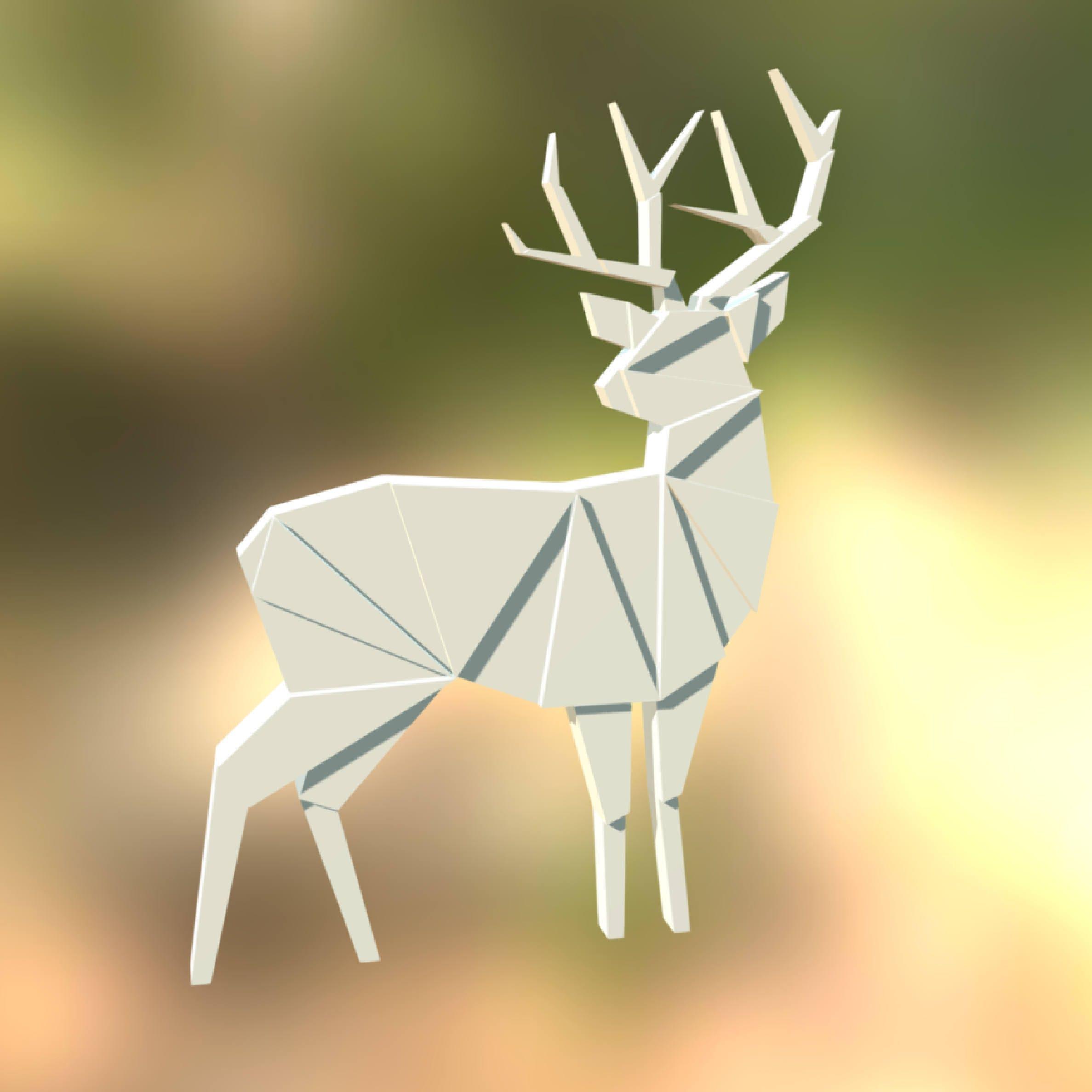 Printable DIY template (PDF). Wall Deer low poly paper model ...