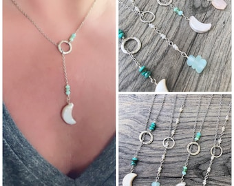 Lariat Necklace with Sterling Silver and Gemstones, Freshwater Pearl, Rose Quartz, Turquoise, Beach Glass