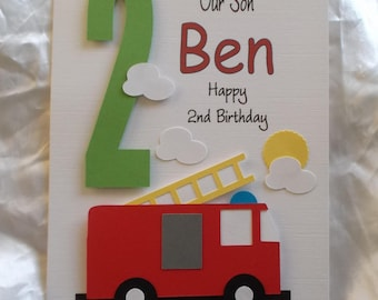 Fire engine card etsy personalised 1st 2nd any age fire engine birthday card son grandson godson bookmarktalkfo Gallery