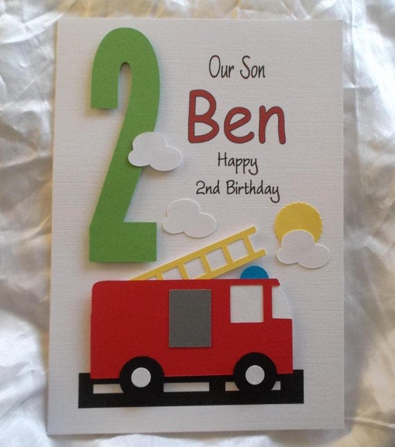 Personalised 1st 2nd Any Age Fire Engine Birthday Card With