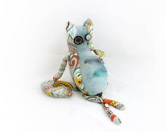 Francois, handmade stuffed cat art doll, one of a kind stuffie, fat paisley & hand-dyed fabric softie animal