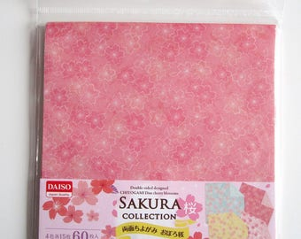 "Chiyogami origami paper double sided 15 x 15 cm ""sakura collection 3"" 60 sheets"