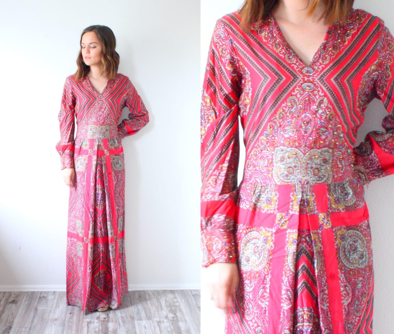 Long sleeve hippie maxi dress