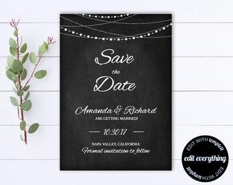 Chalkboard Save the Date Wedding Template - DIY Save the Date Card - String lights Save the Date Invite - Save our Date Wedding Template