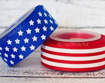 "7/8"" White Foil Stars & Stripes! - 4th of July - U.S. DESIGNER - High Quality Grosgrain Ribbon - 5yd Roll"