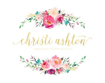 Watercolor Flowers Logo, Premade Logo Design, Circle Logo Branding, Wreath Logo, Gold Floral Logo, Blog Business Logo Photography Logo Stamp