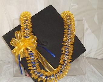 Hawaiian Ribbon Lei  Gold & Blue