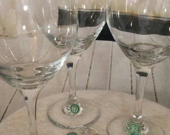 Bohemian wine glass charms. Beautiful teal turquoise wineglass charm set of 3, custom wineglass charms, handmade wine glass charms