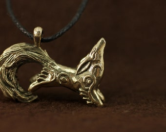 Kitsune Fox bronze pendant necklace