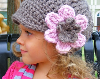 Toddler Girl Hat 33 Colors 1T to 2T Toddler Hat Toddler Girl Clothes Crochet Flower Hat with Flower Flapper Beanie Flapper Hat Winter Hat