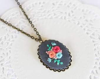 Light Blue Peach Hot Pink Hand Embroidered Pendant Necklace | Hand Embroidered Statement Jewelry | Modern Jewelry for Mother's Day Birthday