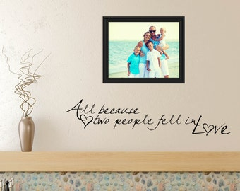 Vinyl Lettering All Because Two People Fell In Love, Vinyl Wall Decal, Vinyl Wall Art, Fell In Love Vinyl Letters 0001