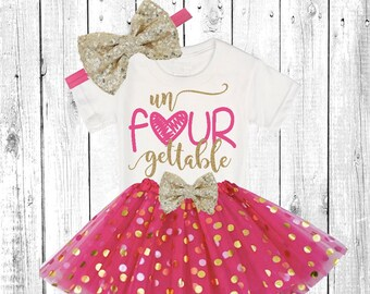 unFOURgettable , Girls birthday Outfit, Girls 4th Birthday tutu outfit hot pink