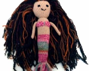 Crochet mermaid doll, pink mermaid, mermaid doll, knit mermaid, crocheted mermaid, ready to ship mermaid, mermaid toy, mermaid amigurumi