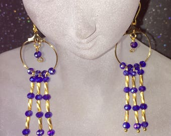 Dangle Hoop Earrings in Gold and Blue Crystal
